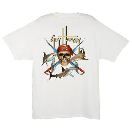 - GUY HARVEY Mens Pirate Shark S/S T, Color: White (MTH1315-WHT)