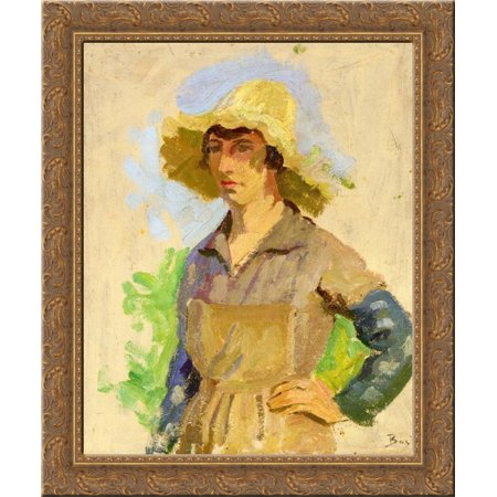 Grape Picker in a Yellow Hat 24x20 Gold Ornate Wood Framed Canvas Art by Frederic Bazille