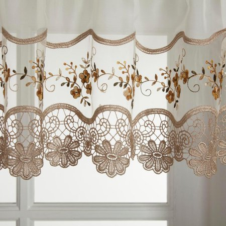 Vintage embroidered gold kitchen curtain valance