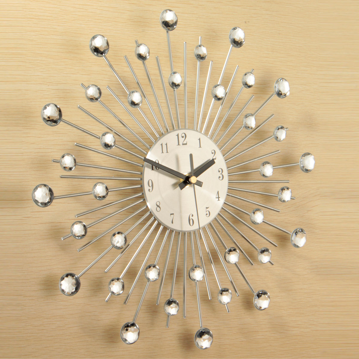 33cm Modern Wall Clock Gift Metal Sunburst Digital Wallclock Clear ...