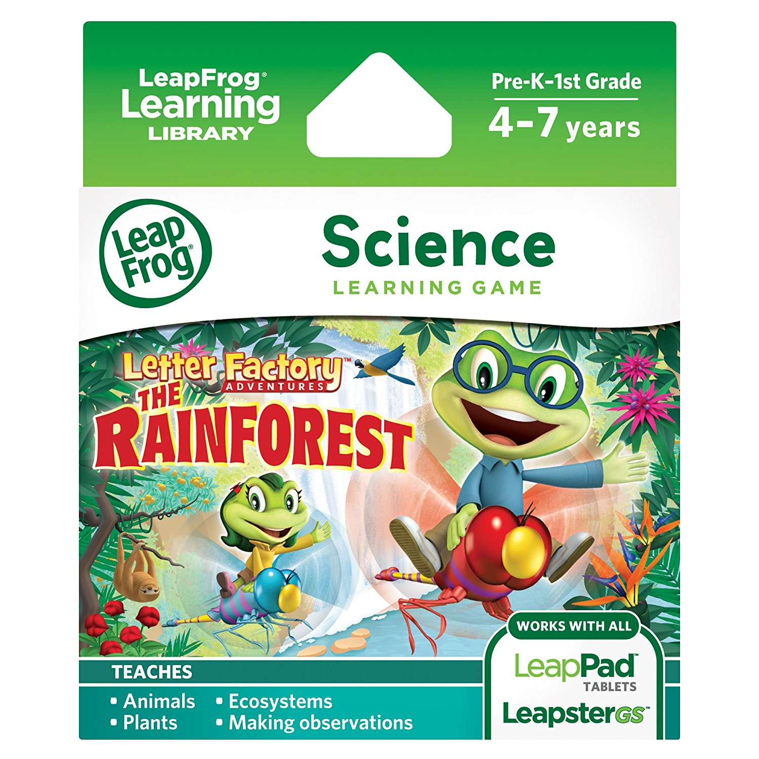 Learning Game Letter Factory Adventures: The Rainforest (for LeapPad tablets and LeapsterGS)Teaches animals, ecosystems, plants and making observations By LeapFrog