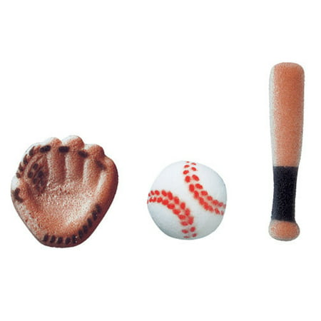 Baseball Assortment Bat Ball Mit Sugar Decorations Toppers Cupcake Cake Cookies Sports Birthday Favors Party 12 Count