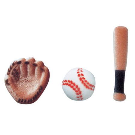 Baseball Assortment Bat Ball Mit Sugar Decorations Toppers Cupcake Cake Cookies Sports Birthday Favors Party 12 Count Balls Birthday Party Favors
