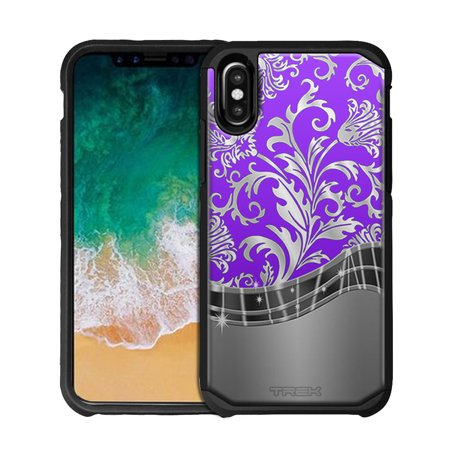 Apple iPhone X Hybrid Slim Case - Damask Metallic Style on Purple (Metallic Purple)