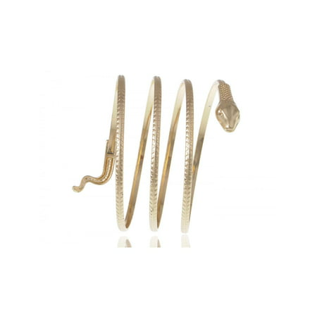 Golden Tone Slithering Snake Egyptian Wrap Around Arm Cuff Bangle - Gold Snake Arm Cuff