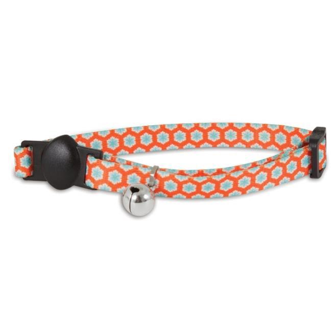 0.37 x 1.75 in. Orange Flower Cat Collar