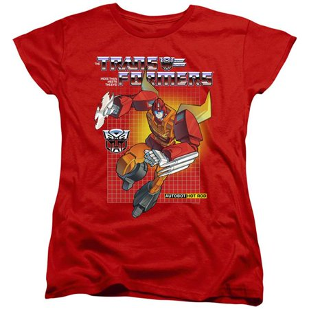 Trevco Sportswear HBRO215-WT-4 Womens Transformers & Hot Rod-Short Sleeve Tee, Red - Extra Large - image 1 of 1
