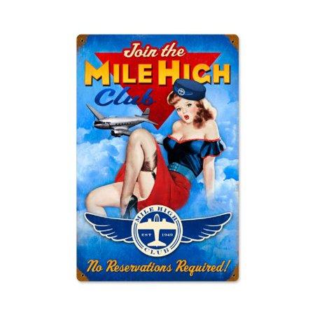 Join Mile High Club Airplane Pinup Girls Vintage Metal Sign -, Heavy Gauge Steel Sign By Garage Art Signs Vintage Metal Airplane Sign