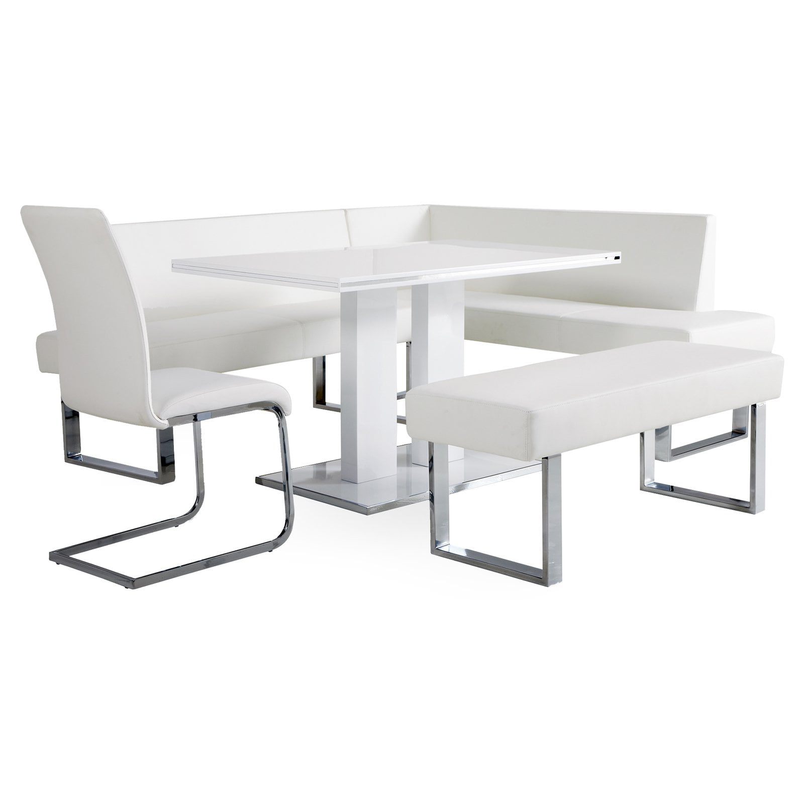 Armen Living Amanda 5 Piece Corner Nook Dining Set With Benches   White    Walmart.com