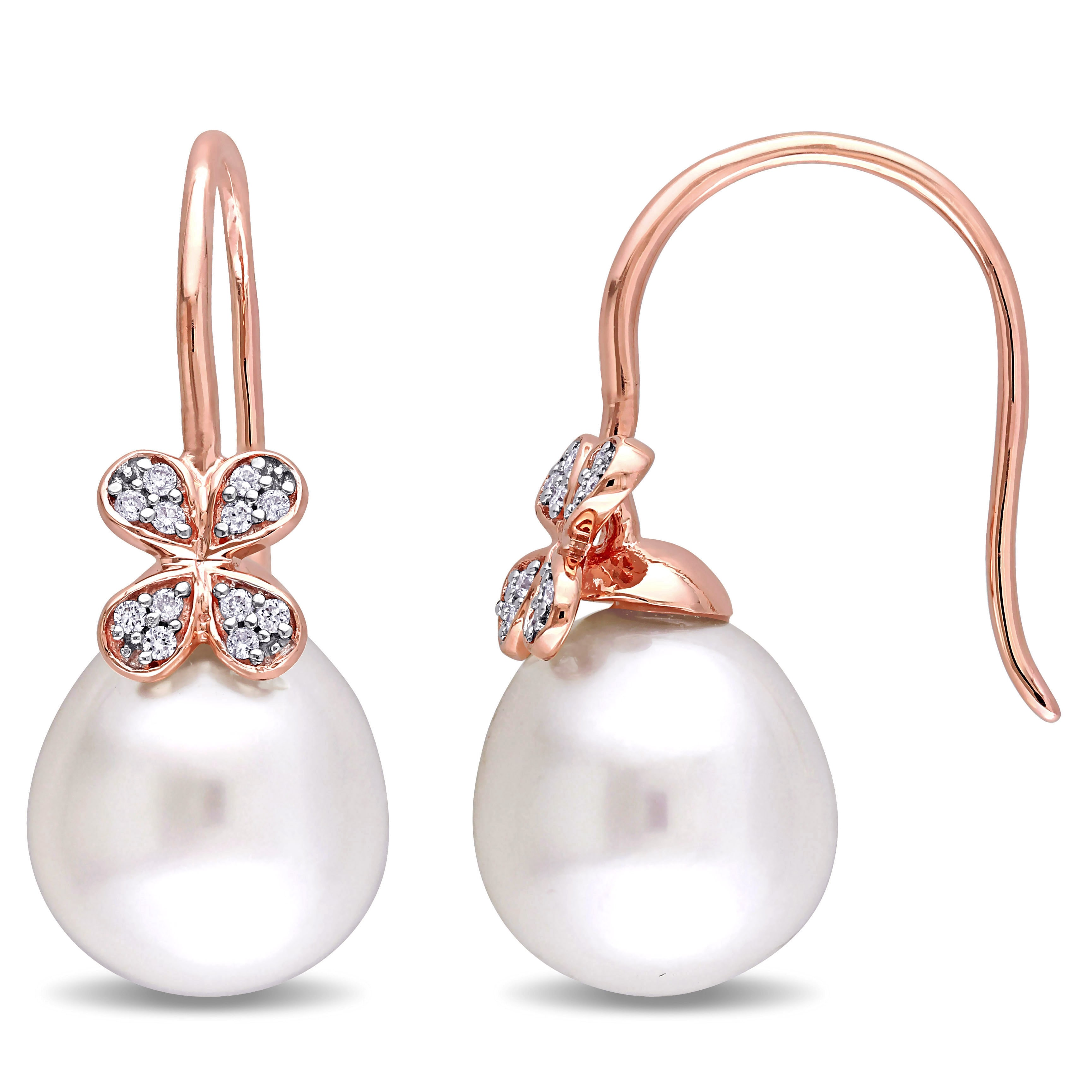 Miadora  Signature Collection 14k Rose Gold Diamond South Sea Pearl and 1/8ct TDW Clover Earrings (G-H, SI1-SI2) (11.5-12mm)