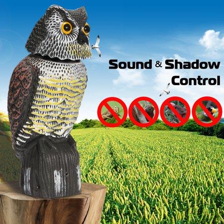 Sound & Shadow Control 360° Rotating Head Owl Decoy Scarecrow Ornamental Outdoor Lawn Patio Bird Decor Pest Repellent Garden Protector