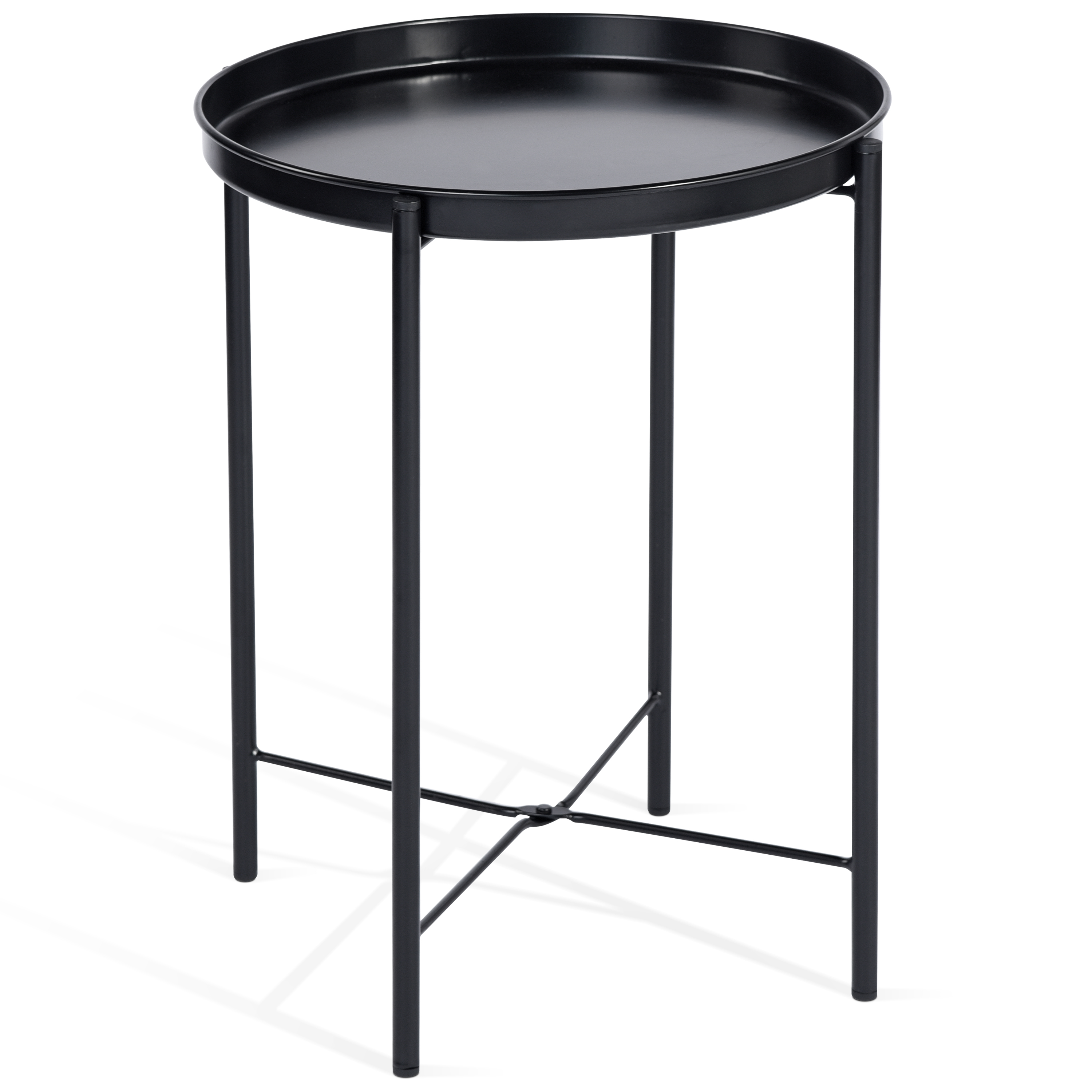 Cap Living 17 Inch Foldable Round Metal Tray End Table