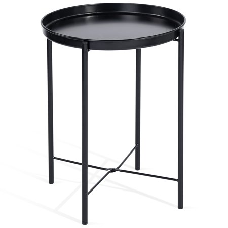 Cap Living 17 Inch Foldable Round Metal Tray End Table Side Table