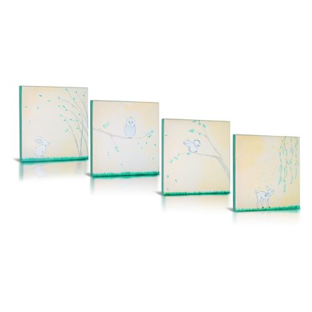 Forest Friends Canvas - Green Frog Forest Friends 4 Piece Canvas Gallery Wrapped Art