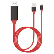 Lightning AirPlay Screen Display to HDTV Red Cable HDMI 1080p iOS Adapter USB Powered Converter For iPhone