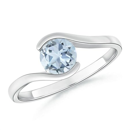 March Birthstone Ring - Semi Bezel-Set Solitaire Round Aquamarine Bypass Ring in 14K White Gold (6mm Aquamarine) - SR0427AQ-WG-A-6-8.5