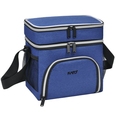 Insulated Lunch Bag Thermos Bento Container Cooler Totes Dual Compartment with Shoulder Stripe & Side Mesh Pockets
