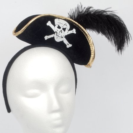 Soft Stuffed Mini Pirate Hat w Feather Headband, Black Gold White, One-Size