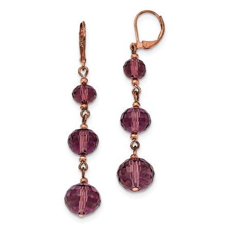 - Rose-tone Purple Crystal Bead Linear Drop Earrings