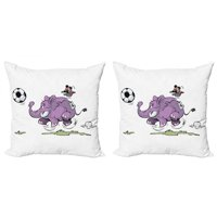 Elephant Throw Pillow Cushion Cover Pack of 2, Elephant Playing Soccer with a Kid Mario Moustache Sports Theme Football Print, Zippered Double-Side Digital Print, 4 Sizes, Purple White, by Ambesonne