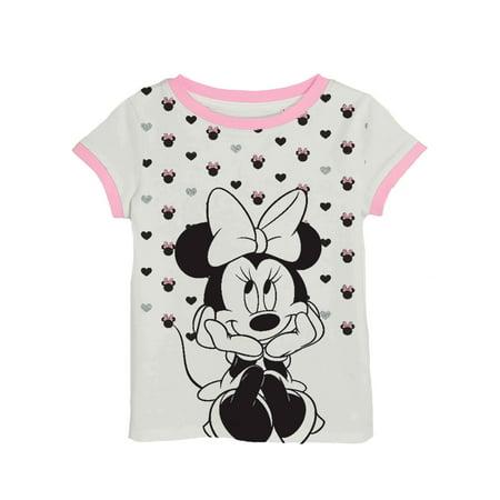 Minnie All-Over Glitter Graphic Ringer Tee (Little Girls & Big Girls) - Girls Glitter Toms