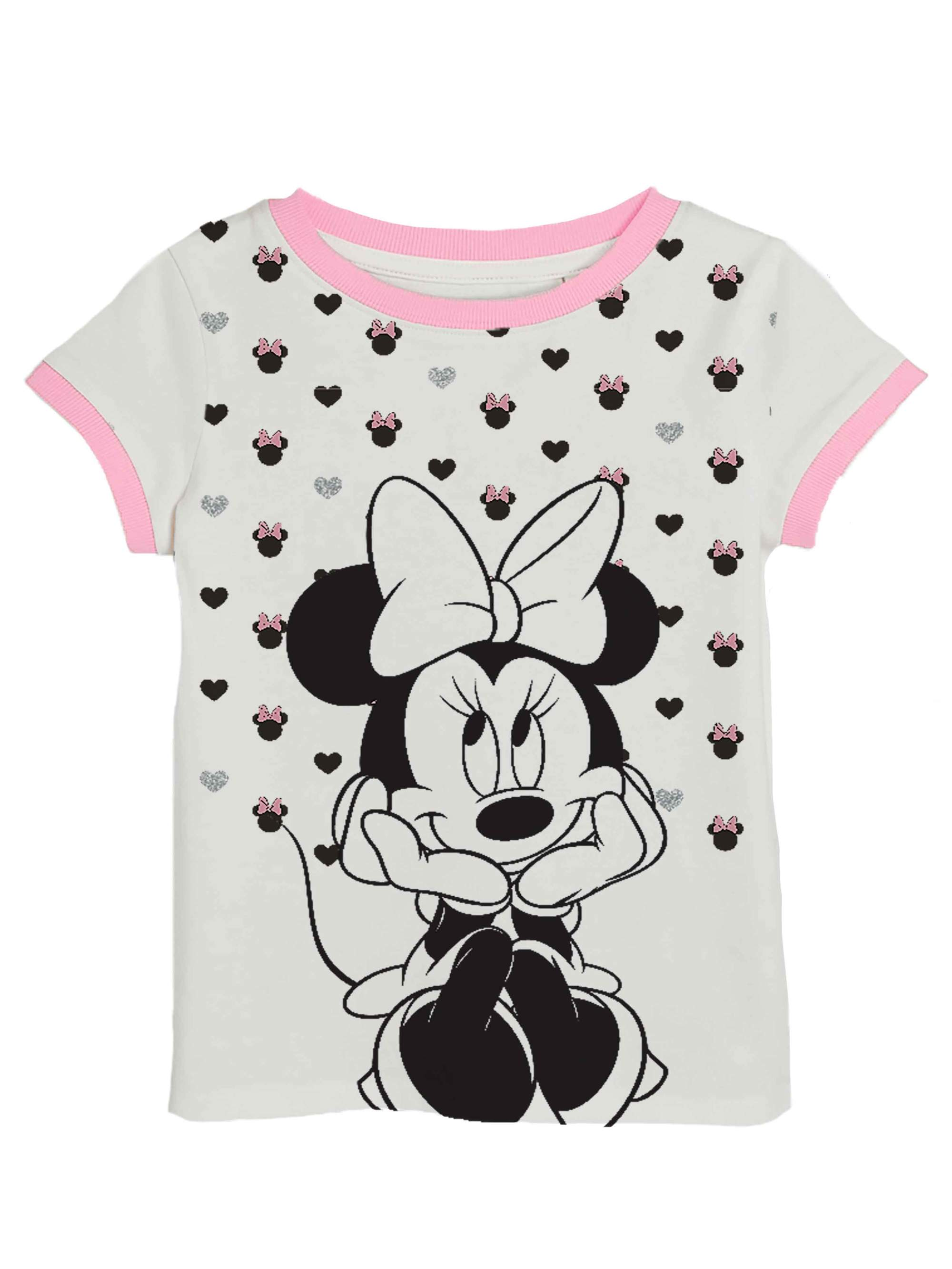 Minnie All-Over Glitter Graphic Ringer Tee (Little Girls & Big Girls)