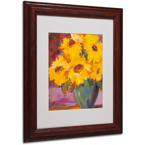 "Trademark Fine Art ""Sunflower #5"" Matted Framed Art by Sheila Golden, Wood Frame"