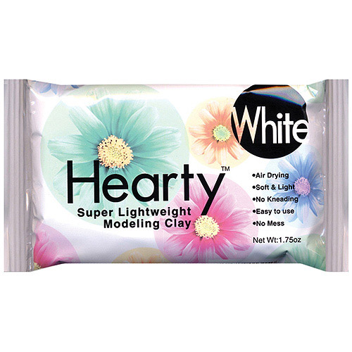Hearty Super Lightweight Air Dry Clay, White, 1.75 oz