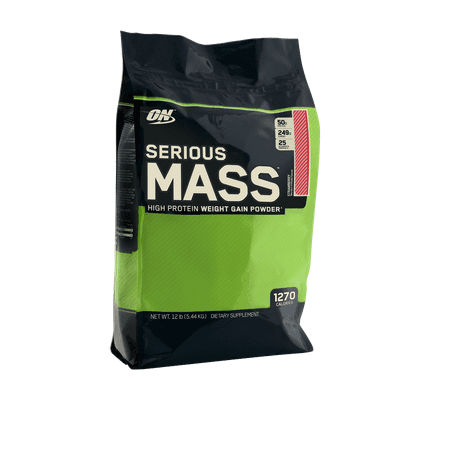 Optimum Nutrition Serious Mass Protein Powder, Strawberry, 50g Protein, 12lb, (On Pro Complex Gainer Vs Serious Mass)