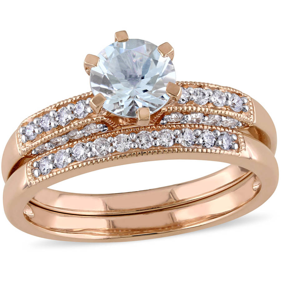 Tangelo 2 Carat T.G.W. Aquamarine and 1 3 Carat T.W Diamond 10kt Rose Gold Bridal Set by Tangelo
