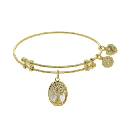 Mother Of Pearl Brass (Brass With Yellow Tree Of Life Created Mother Of Pearl Oval Charm On Yellow Angelica Bangle)