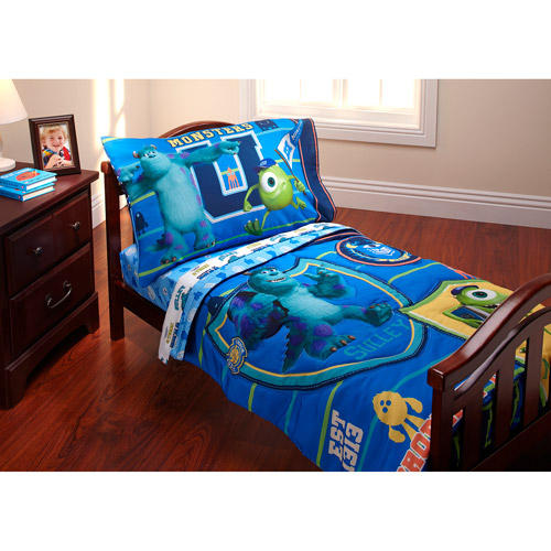 "Disney Monsters Inc. ""Property of MU"" 3-Piece Toddler Bedding Set with BONUS Matching Pillow Case"