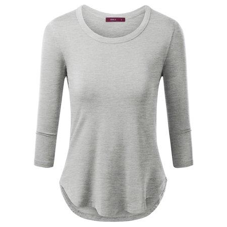 b3aad129c15 Doublju - Doublju Womens Essential Long Sleeve Round Neck Tunic T-Shirt Top  With Plus Size HEATHERGRAY 2XL - Walmart.com