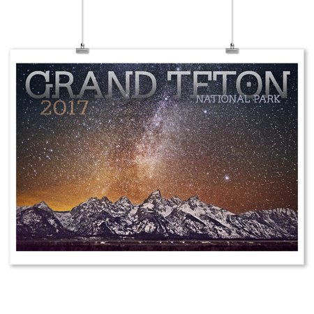 Grand Teton National Park, Wyoming - Mountain Range & Milky Way - 2017 - Lantern Press Photography (9x12 Art Print, Wall Decor Travel Poster)