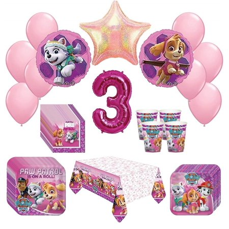 Girl Paw Patrol Skye Everest 3rd Birthday Party Kit Pack Bundle 52 Piece Set - Cowboy Birthday Party Supplies