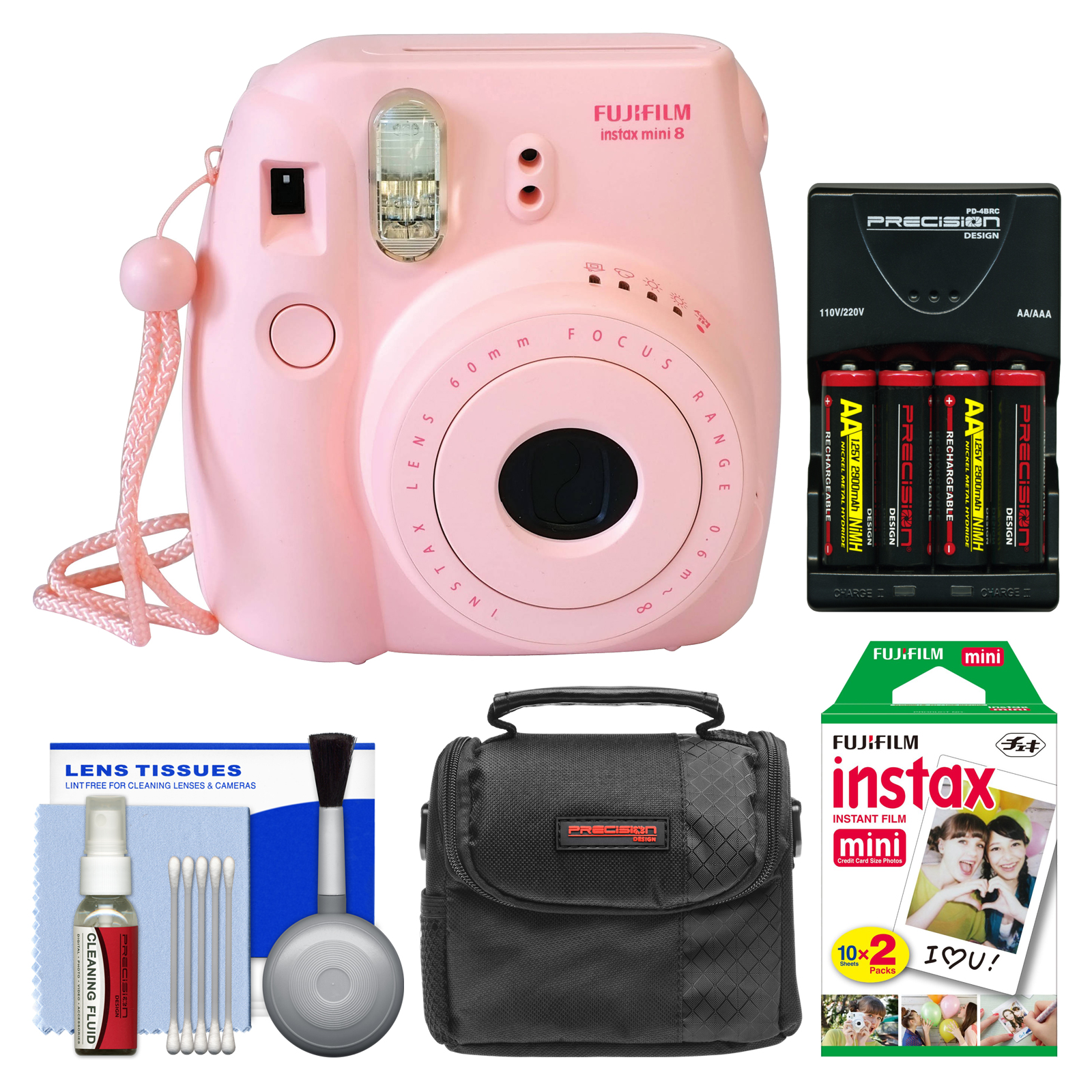 Fujifilm Instax Mini 8 Instant Film Camera (Pink) with 20 Instant Film + Case + (4) Batteries & Charger + Kit