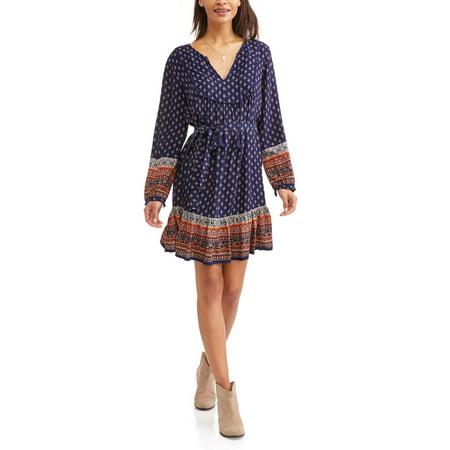 8831fcd28023f Time and Tru - Women s Peasant Dress - Walmart.com