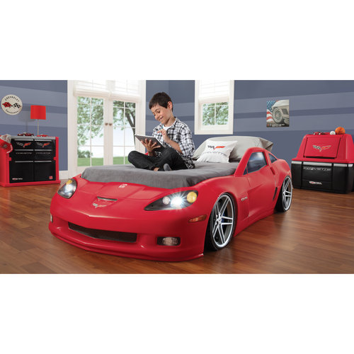 Lovely Step2 Corvette Convertible Toddler To Twin Bed With Lights, Red Image 3 Of 6