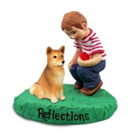 RBD117 CON Finnish Spitz Reflections w/Boy Figurine