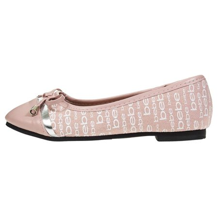 12972bbffad2e bebe Girls Ballet Flats Size 12 Round Toe with Bow and Logo Print Slip-On  Shoes Flexible PU Leather Blush