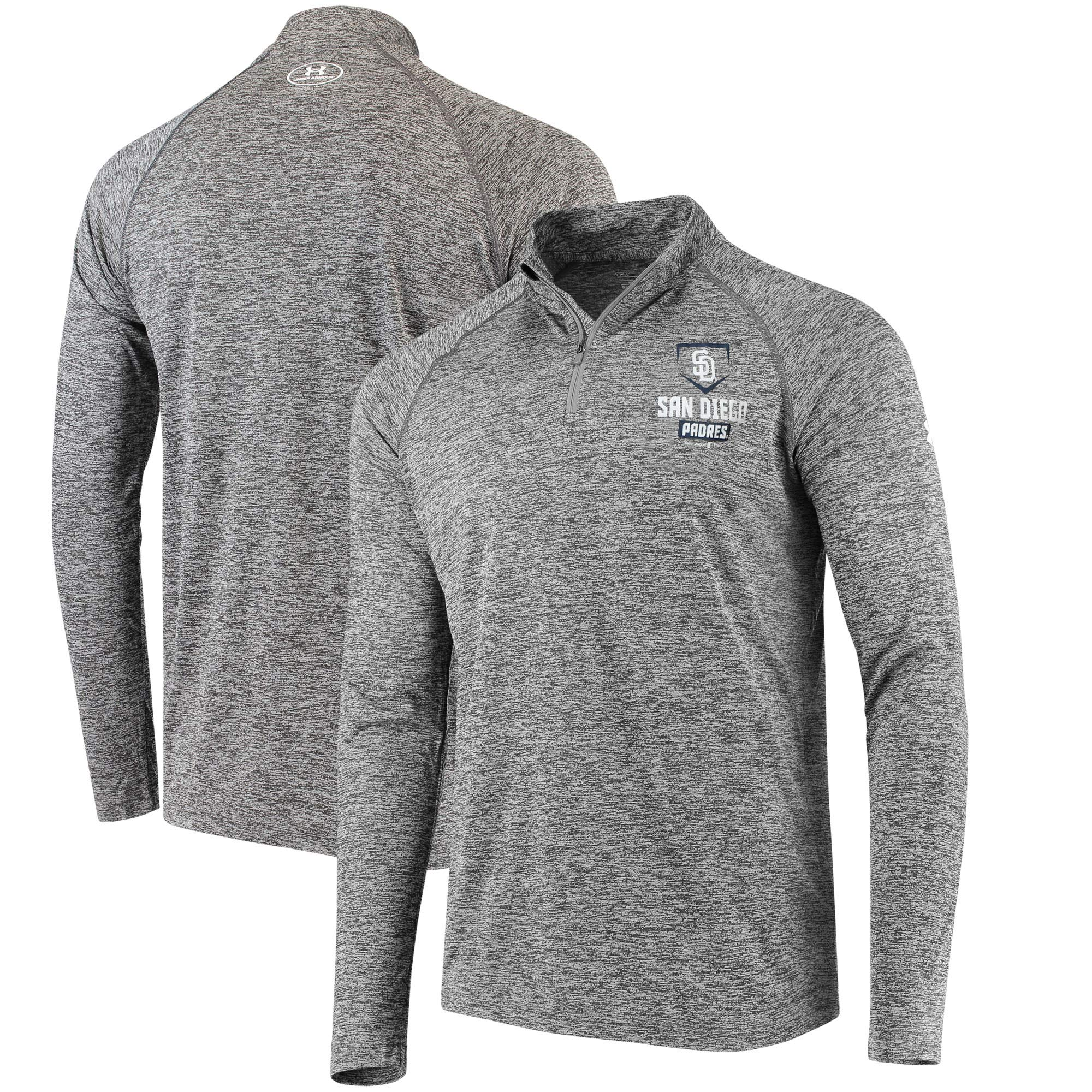 San Diego Padres Under Armour Tech Quarter-Zip Performance Pullover - Charcoal
