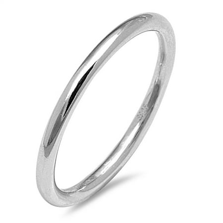 - Thin Stackable Rounded Wedding Ring ( Sizes 2 3 4 5 6 7 8 9 10 ) New .925 Sterling Silver Band Rings by Sac Silver (Size 9)