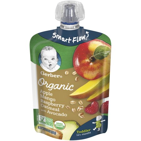 Gerber Organic Apple Mango Raspberry Oatmeal with Avocado, 3.5 oz Pouch (Pack of 12)