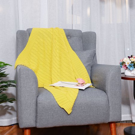 Soft 100% Cotton Knitted Throw Blanket for Couch Home Decorative Blanket, Yellow, 30