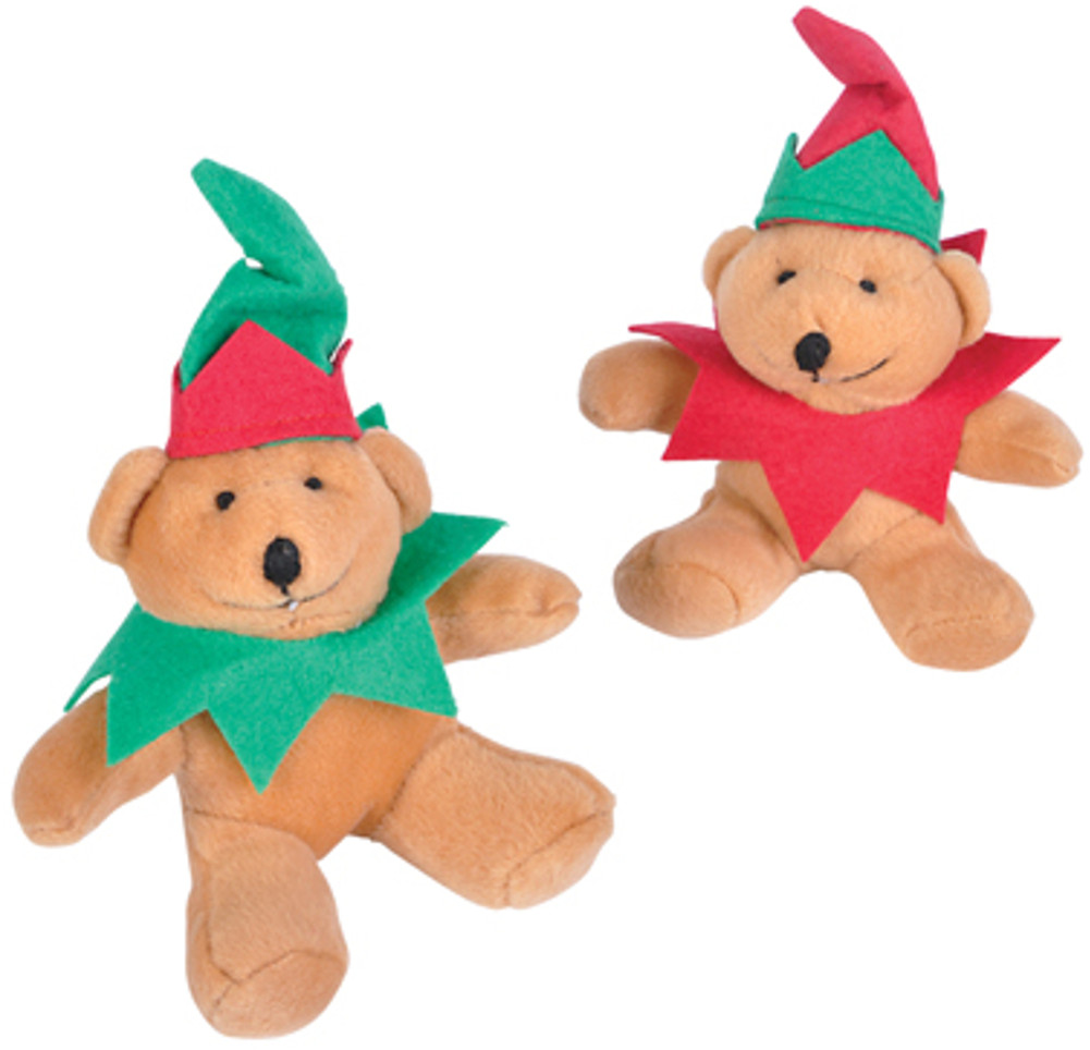 Plush Stuffed Festive Santa Elf Christmas Teddy Bear Toy 12 Pack