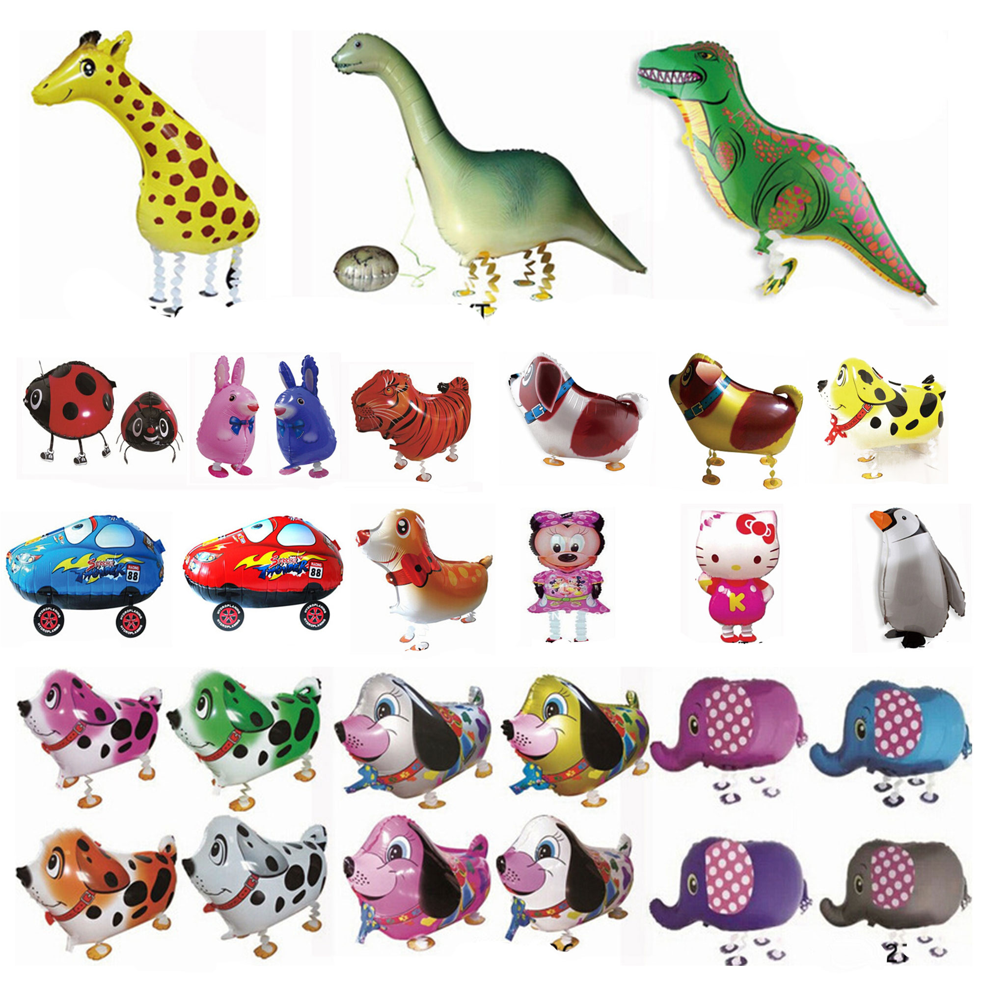 Walking Pet Foil Balloons Dinosaur Cartoon Animal Helium Airwalker Zoo Farm Pets Kids Fun Toys Party Decor