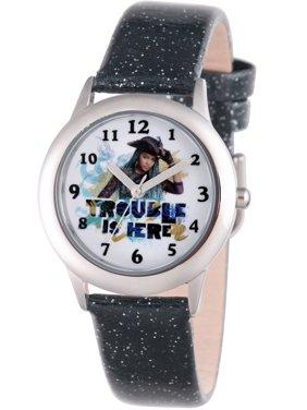 Descendants 2 Uma Tween Girls' Stainless Steel Watch, Black Glitter Leather Strap