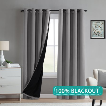Grey Bedroom Curtains 84 Inch Long Thermal Moderate 100 Blackout