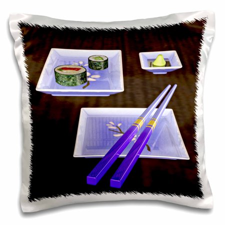 3dRose Sushi blue plates and chopsticks - Pillow Case, 16 by 16-inch - Sushi Plates Walmart