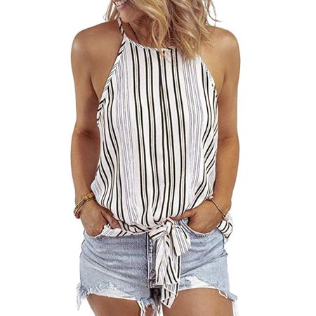 Women Summer Striped Halter High Neck Chiffon Cami Tie Front Knotted Tank Tops Casual Sleeveless Shirts Blouses